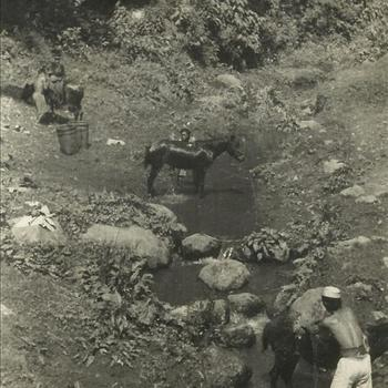 Ned. Indië, Tijgerbataljon: 1947 - paard, wassen, bergstroompje