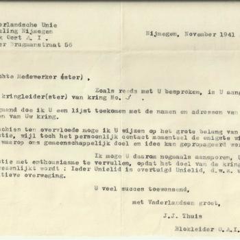 Brief van de Nederlandsche Unie afdeling Nijmegen aan mej. M.Meijer, november 1941