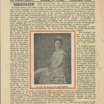 Zeister Weekblad, speciale uitgave, dag der bevrijding, 5 mei 1945