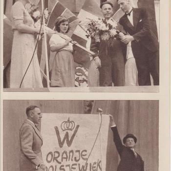 """Fotodruk van """"de nuchtere Hollanders...."""" t.g.v. de uitvoering het toneelstuk """"Van Tyrannie tot Vrijheid"""" in 1945 te Terborg."""
