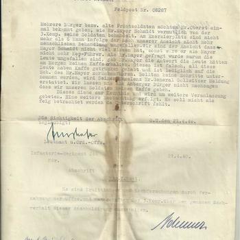 brief aan Oberst Nebauer, Feldpost nr.08287, Amberg 19 april 1940