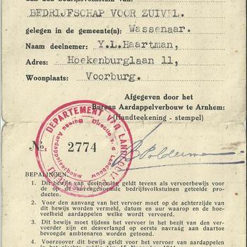 Bewijs van deelneming aan de bedrijfsvolkstuin van het Bedrijfschap voor Zuivel gelegen in Wassenaar van Y.L. Haartman te Voorburg