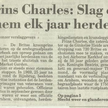 Prins Charles : Slag om Arnhem elk jaar herdenken