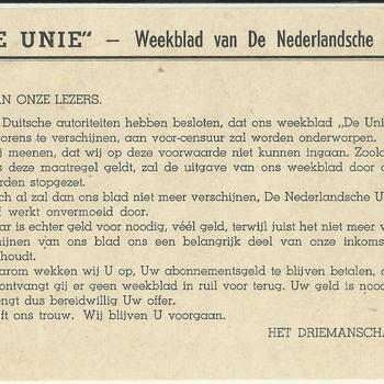 """""""De Unie""""  Weekblad van de Nederlandsche Unie, aan onze lezers, van het Driemanschap"""