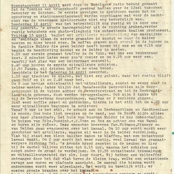Kort verslag van de oorlogshandelingen gedurende de periode woensdag 11 april tot dinsdag 17 april 1945 ( bevrijding van Apeldoorn)