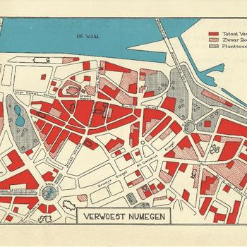 geïllustreerde kaart - wederopbouw - Nijmegen verwoest Nijmegen