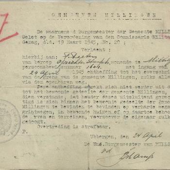 De Burgemeester der gemeente Millingen verleent ontheffing tot het overschreiden van de grens van de Gemeente Millingen aan dhr Piet Peeters met ingang van 24 april 1945