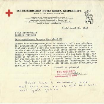 Brief van het Schweizerisches Rotes Kreuz, Kinderhilfe