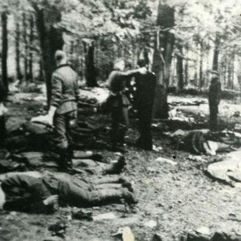 """Duitse militairen te midden van gesneuvelde Nederlandse militairen na de strijd op de Grebbeberg. Tekst achterop: """"Grebbeberg""""."""
