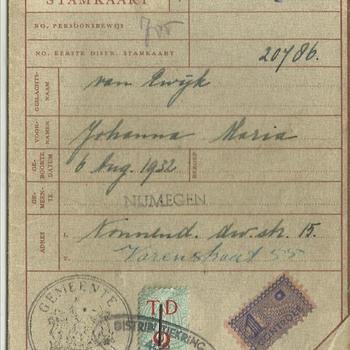 Tweede distributiestamkaart van :  Van Ewijk, Johanna Maria