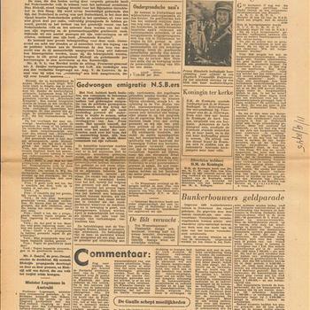 Het Parool, Haagsch Dagblad, Vrij Onverveerd, dinsdag 11 september 1945