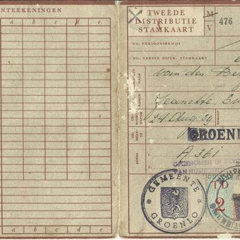 Tweede Distributiestamkaart van : Van den Berg, Jeanette Eveline