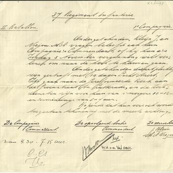 Briefje van M.A. Viejou en J. de Kleijn aan hun Compagnie's Commandant van het 37 Regiment Infanterie  II Bataljon 1e Compagnie