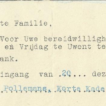 Bedankbriefje voor de bereidwilligheid om een kind te laten mee eten in het najaar van 1945