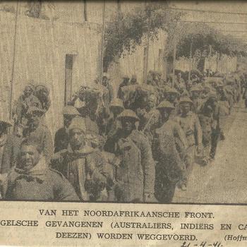 Van het Noordafrikaanse front, Engelse gevangenen (Australiers, Indiers en Canadezen) worden weggevoerd   21 april 1941