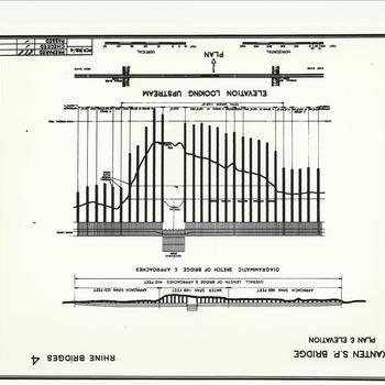 ar. Envelop 24 Rheinbrücke Bislich / Xanten, schematische tekening rijnbrug