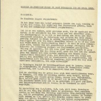 Rapport hoofdgewest Noord en Oost Nederland tot 26 april 1945
