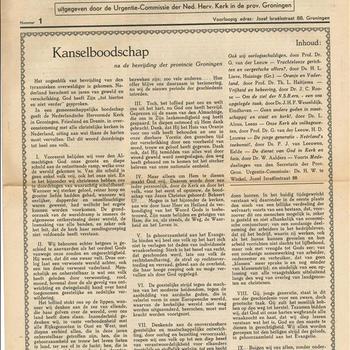 De Stem der Kerk, uitgegeven door de Urgentie-Commissie der Ned. Herv. Kerk in de prov. Grningen, nummer 1