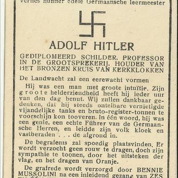 Humoristische bidprent van Adolf Hitler