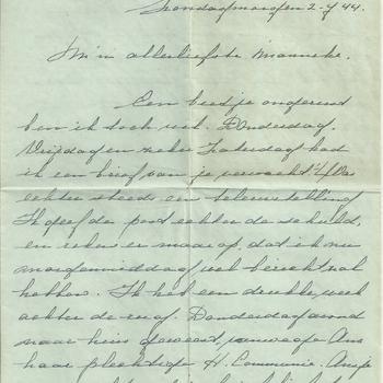 Brief van Tiny Middendorp aan verloofde, 2 juli 1944