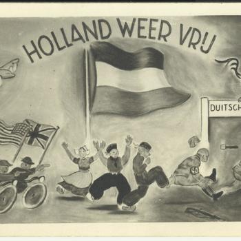 geillustreerde kaart - bevrijding       Holland weer vrij