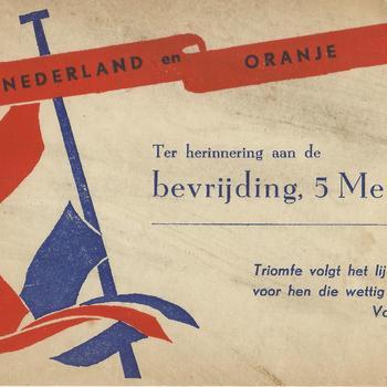 geillustreerde kaart - bevrijding    Nederland en Oranje         Bevrijding 5 mei 1945