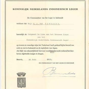 Verklaring van goede dienst bij Vrouwenkorps KNIL, 26 juli 1950
