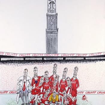 Karikatuurtekening: Johan Cruijff wil FC Utrecht  kopen, 'Ieder (???) clubkleuren blijven', Dik Breynesteyn 1988