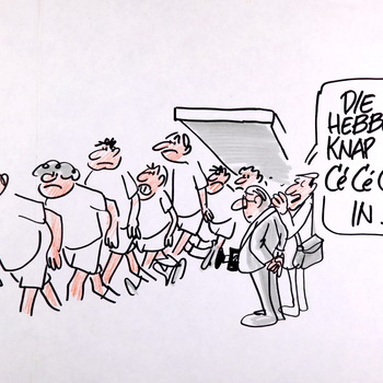 Karikatuurtekening: 'Die hebben knap de Cé Cé Cé Pé in!', 1992