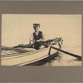 Veerman Van Deutekom op de Waal bij Varik, 1896