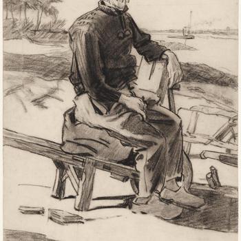 Man zittende op een kruiwagen, 1907