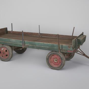 Platte bakwagen op luchtbanden, type luchtbandenwagen op houten schamels van de oostelijke zandgronden (Achterhoek), 1950