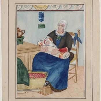 Vrouw in dracht met kind, Oosterwolde