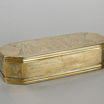 Messing tabaksdoos voor Friese patriotten, 1775–1800