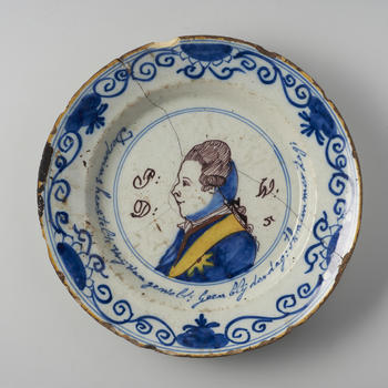 Gedenkbord met portret Willem V, 1787-1795
