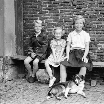 Drie kinderen en een hond, Laren, 1952