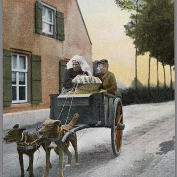 Vrouw en man in Noord-Brabantse dracht op een hondenkar, 1902–1905