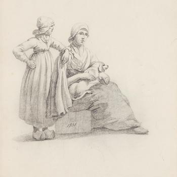 Meisje en vrouw met hond, Scheveningen, 1831