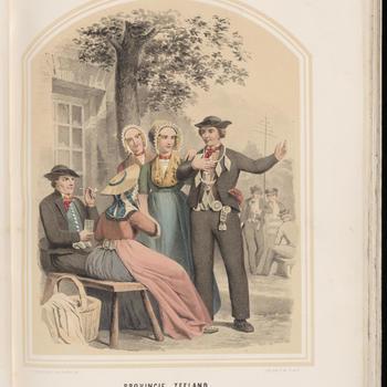 Schutterskoning met vrouwen en man in de dracht van Zuid-Beveland