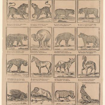 Ziet Kind'ren in deez' Prent, een aantal vreemde Dieren, / Hun Afkomst, hun Bestaan, hun wreedheid en manieren. - No. 40