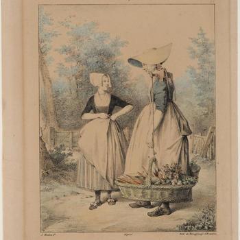 Vrouw met gevulde manden en boerin van Walcheren, circa 1820