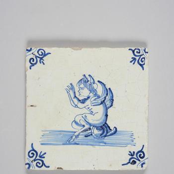 Wandtegel met afbeelding duivel, 1600-1700