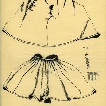 Tekening van een vrouwen- en meisjesschort, Marken
