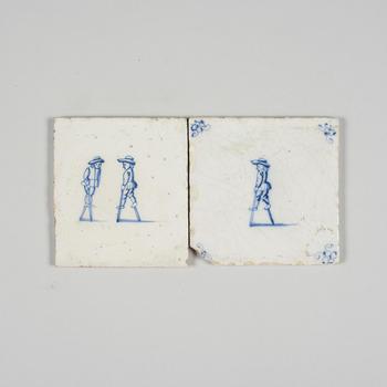 Twee wandtegels met afbeelding steltlopen, 1600–1700