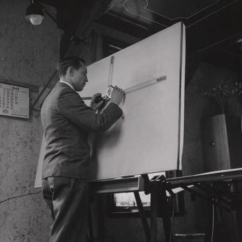 Bouwkundig tekenaar G.J. Aanstoot, Nederlands Openluchtmuseum, 1949