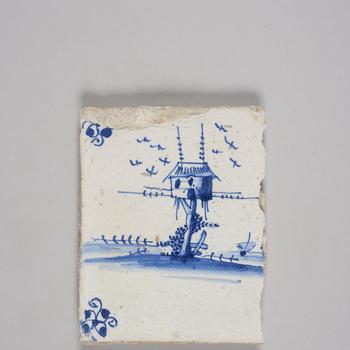Wandtegel met afbeelding landschap met duiventil, 1700–1800