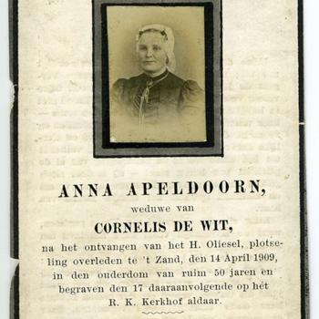 Bidprentje van Anna Apeldoorn, 1909