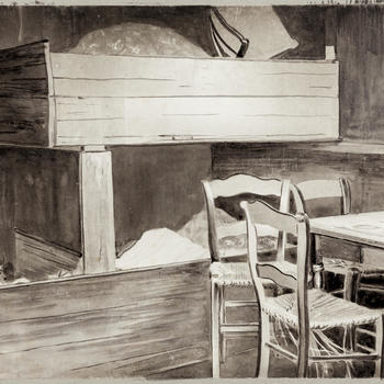 Bedsteden in een tehuis voor daklozen te Bellingwolde, 1916