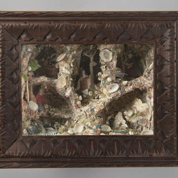 Wandkastje met heiligen in schelpengrotten, Zuid-Nederland of Vlaanderen, 1800–1900