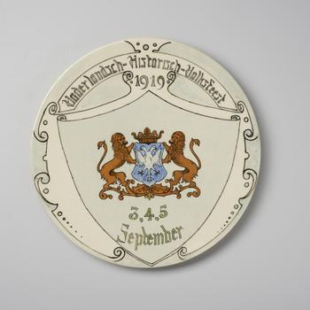 Wandbord ter gelegenheid van het Vaderlandsch Historisch Volksfeest, 1919